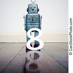 玩具, 反映, 地板, 木制, 數字, 機器人, 灰色, 8