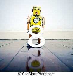 玩具, 反映, 地板, 木制, 數字, 黃色, 機器人, 8
