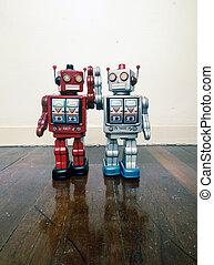 玩具, 地板, 木制, 葡萄酒, 二, 一起, 機器人, 愉快