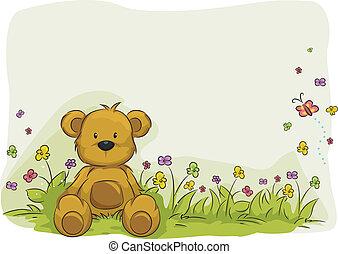 玩具, 熊, 葉子, 背景