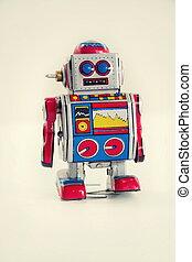 玩具, 葡萄酒, 機器人, 被隔离, 錫, 背景, 過濾, 白色