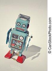 玩具, 葡萄酒, 機器人, 被隔离, 錫, 背景, retro, 相片, 過濾, 白色