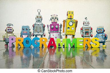 玩具, 詞, 信件, 木制, 老, 程式員, 机器人, 地板, retro