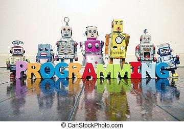 玩具, 詞, 信件, 木制, 老, 編程, 机器人, 地板, retro