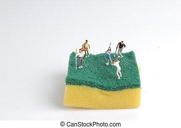 玩, 微型, 圖, 高爾夫球, 海綿
