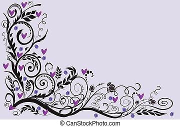 玫瑰, 婚禮, 卡片, 框架, 植物, 角落, 問候, 邀請