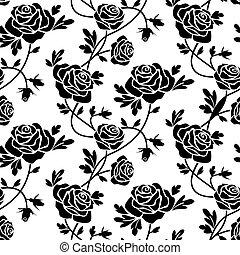 玫瑰, 白色, 黑色