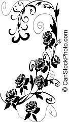 玫瑰, 設計, 黑色