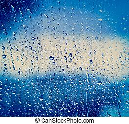 玻璃, 下降, 雨, 以後