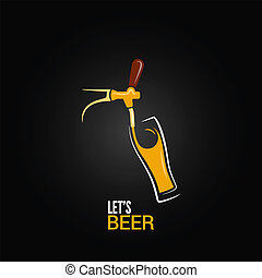 玻璃, 啤酒 輕拍, 背景, 設計
