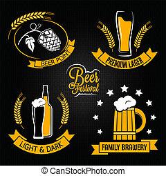 玻璃, 啤酒, 集合, 瓶子, 標簽