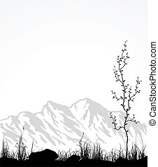 玻璃, 樹。, 山, 風景