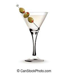 玻璃, 馬蒂尼雞尾酒, 雞尾酒, 橄欖