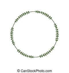 珠寶, 項鏈, 標識語, 問候, laconic, 矢量, border., 時髦, 邀請, 最簡單派藝術家, 框架, leaves., 末梢, wreath., 設計, 綠色, 樣板, 插圖, 輪, chain.