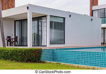 現代, 房子, 池, 游泳, 豪華