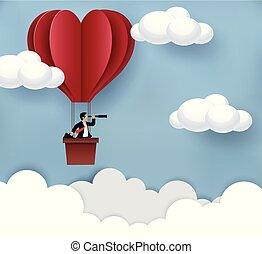 現代, concept., 藝術, 紅色氣球, 熱, 矢量, 事務, binocular., 天空, creativity., 空氣, 想法, 商人, 藏品, 目標, 紙, 浮動, success., 達到, 站立, illustration.