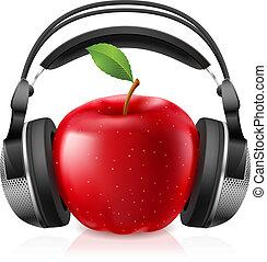 現實, 耳機, 電腦, 蘋果, 紅色
