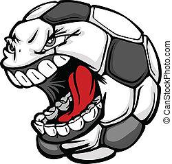 球, 圖像, 臉, 矢量, 足球, 尖聲叫, 卡通