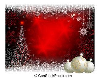 球, 樹, 設計, 白色 聖誕節, 紅色