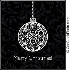 球, 葡萄酒, 黑色, 懸挂, 白色 聖誕節, 卡片