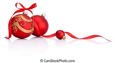 球, 被隔离, 弓, 裝飾, 帶子, 背景, 白色 聖誕節, 紅色