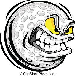 球, 高爾夫球, 圖像, 臉, 矢量, 卡通
