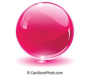球, 3d, 水晶, 玻璃