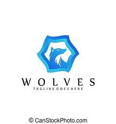 理念, 矢量, 設計, 樣板, 狼, 插圖, 公司, 藍色