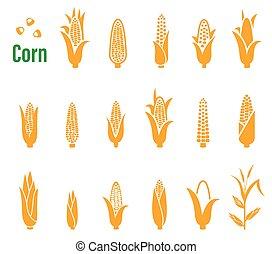 理念, 集合, 圖象, 玉米, 背景。, 矢量, 白色