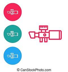 環繞, 狙擊手, 視力, 范圍, crosshairs., 線, 光學, 白色, 背景。, 集合, 紅色, 圖象, 矢量, 圖象, 被隔离, buttons.