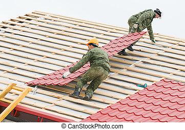 瓦片, 屋頂, 工作, 金屬