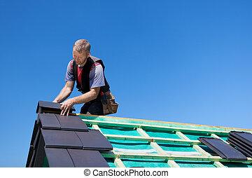 瓦片, 聚集, 被超過, 屋面工, 屋頂
