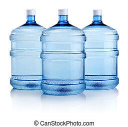 瓶子, 大, 三, 被隔离, 水, 背景, 白色