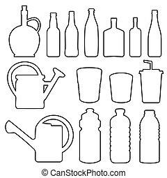 瓶子, 杯子, 彙整, 線, 玻璃