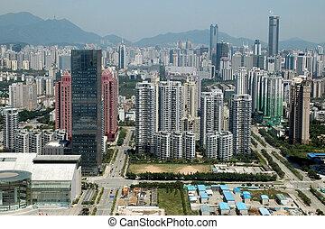 瓷器, 深圳, 空中, 城市觀點