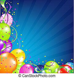 生日, 气球, 背景, sunburst