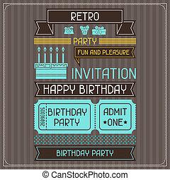 生日, style., retro, 卡片, 邀請