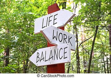 生活, -, 箭, 三, 路標, 平衡, 概念, 工作