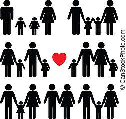 生活, 黑色, 集合, 圖象, 家庭