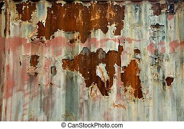 生鏽, 圖案, 表面, 向上, 結構, 鋅, 鏽, 垂直, zinc., 關閉, 牆, 背景, 老