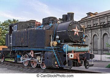 生鏽, 老, 蒸汽, 機車