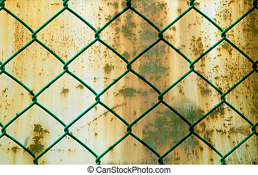 生鏽, grunge, 電線柵欄, 圖案, 在上方, 金屬, 背景, 綠色, 水平