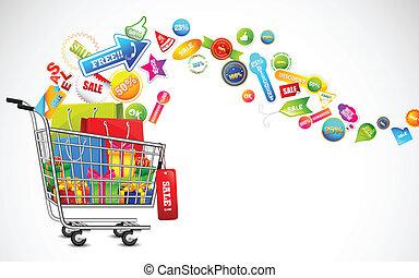 產品, 充分, 購物, 銷售, 車