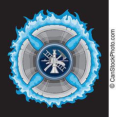 產生雜種, 消防人員, 藍色, 火焰