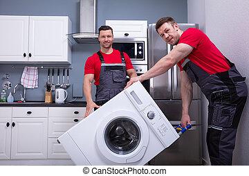用具, 移動者, 年輕, 廚房, 男性, 家, 運載