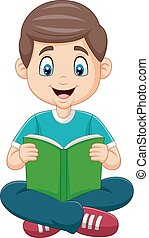 男孩讀, 卡通, 書