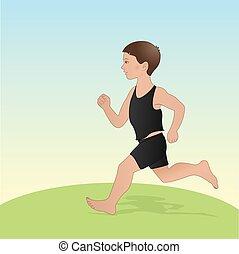 男孩跑, 插圖