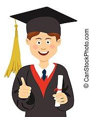 男孩, 他的, 披, 給, 大學, 帽子, 向上, 畢業, 年輕, 拇指, 學生, 手, 畢業証書, 畢業生
