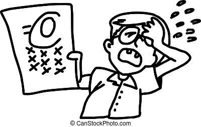 男孩, 他的, 考試, 心不在焉地亂寫亂畫, 顯示, -, 被隔离, 插圖, 手, 失敗, 矢量, 背景, 白色, 畫, 眼鏡
