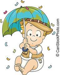 男孩, 傘, 探險家, 插圖, 陣雨, 嬰孩
